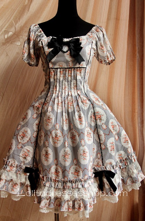 Black Circle Flowers Lolita Short Sleeves Knee-length Dress