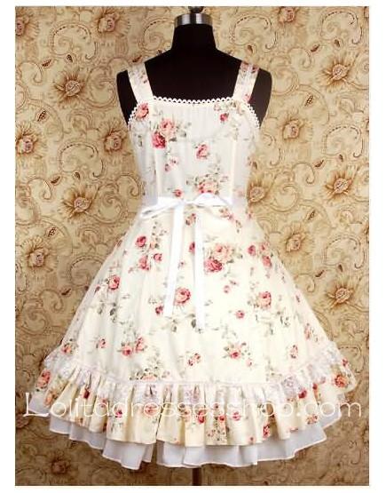 Cheap Beige Square-collar floral print Bow Waist sweet Lolita ...