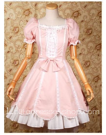 Pink Square-colla separable Short Sleeve classic Lolita dress With layerd Style