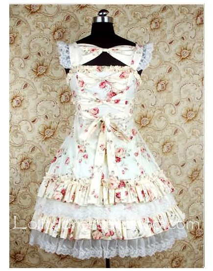 Apricot Cotton U neckline sweet Lolita dress With floral print lace layered Style