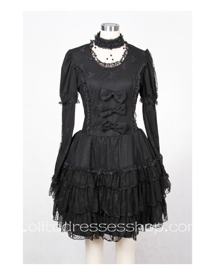 Cheap Red/Black short sleeve Lace Gothic Lolita Dresses With multi ...