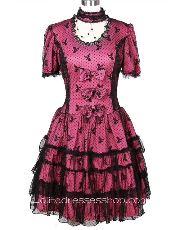 Red/Black short sleeve Lace Gothic Lolita Dresses With multi-layered And Full Print Style