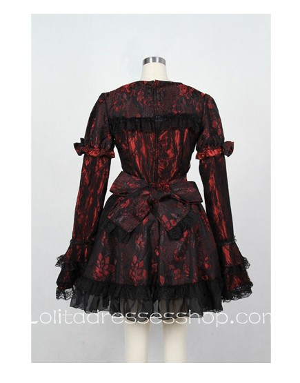 Black/Red Square Neckline Short Sleeve Cotton gothic Lolita dress With Lace Overlay Style