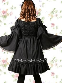 Black Square Long Sleeve Knee-length Cosplay Lolita Dress With Lace