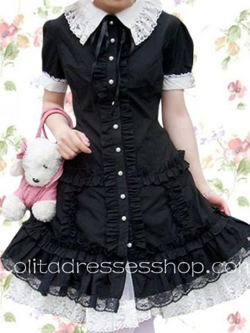 Black And White Turndown Collar Short Sleeves Cotton Cosplay Lolita Dress With Lace Trim