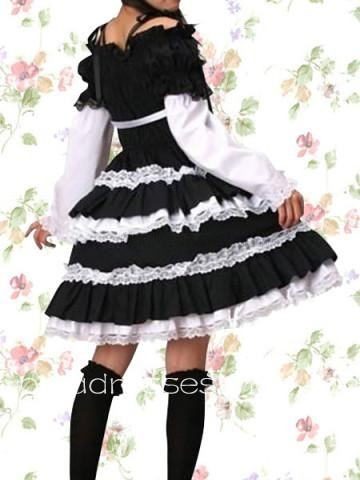Black And White Cotton Long Sleeve Cosplay Lolita Dress With Lace Trim And Ruffles