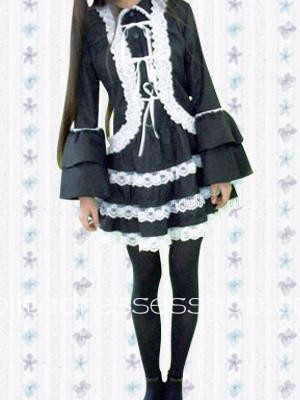 Black And White Turtleneck Long Sleeve Ruffles Lace Cotton Cosplay Lolita Dress