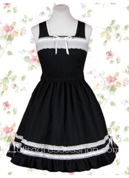 Square Sleeveless Empire Knee-length Cotton Gothic Lolita Dress With Ruffles And Ribbon