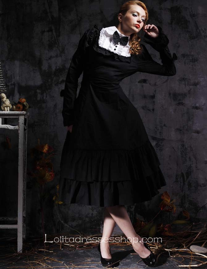 Cheap Black Turndown Collar Long Sleeve Empire Tea Length Gothic