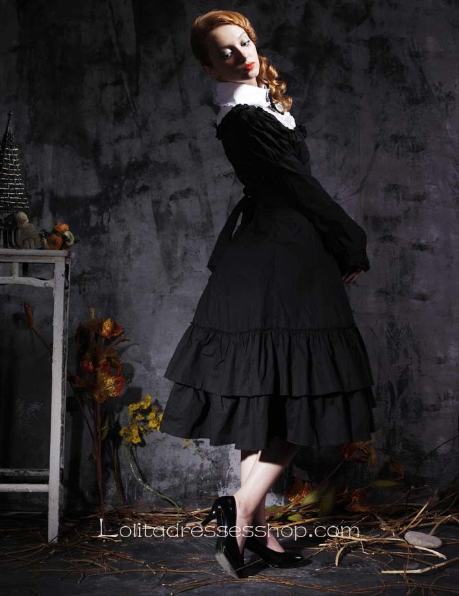 Black Turndown Collar Long Sleeve Empire Tea-length Gothic Lolita Dress With Ruffles And Bows