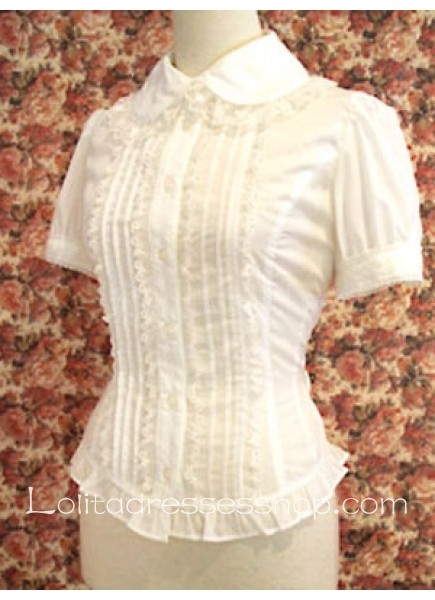 White Cotton Turndown Collar Short Sleeves Lolita Blouse With Lace Ruffles