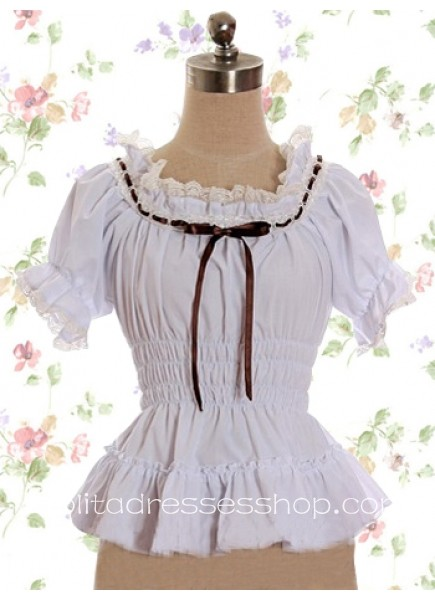 White Cotton Lace Collar Short Sleeves Lolita Blouse With Ruffles