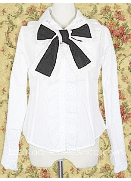 White Cotton Turndown Collar Long Sleeves Lolita Blouse With Bow