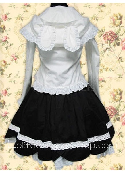 White And Black Turndown Collar Long Sleeve Cotton Lolita Dress Outfit