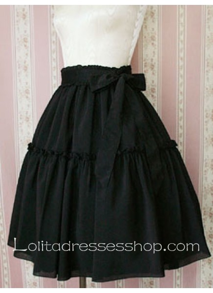 Cheap Black Cotton Knee-length Lolita Skirt With Trimmed Hem Sale ...