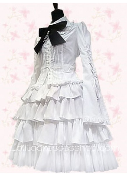 White Turndown Collar Long Sleeve Knee-length Punk Lolita Dress With Bow Style