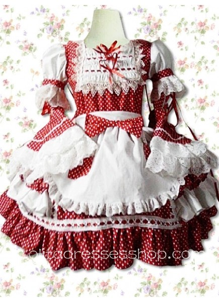 Punk Style Red White Cowlneck Long Sleeve Cotton Polka Dot Lolita Dress With Pleats