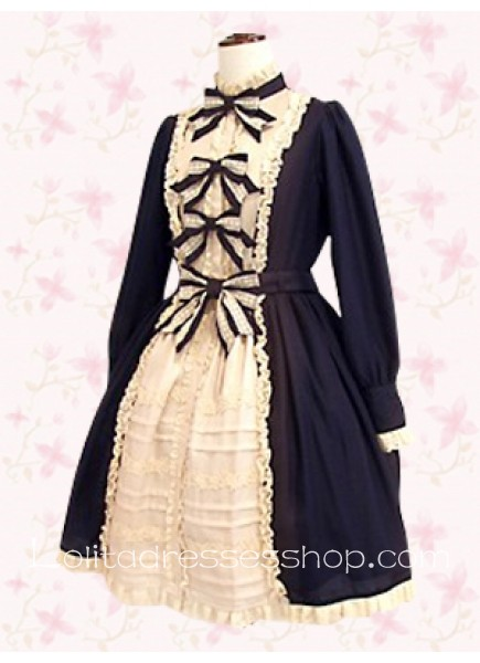 Black And White Stand Collar Long Sleeve Empire Punk Lolita Dress With Black Bow Front Style