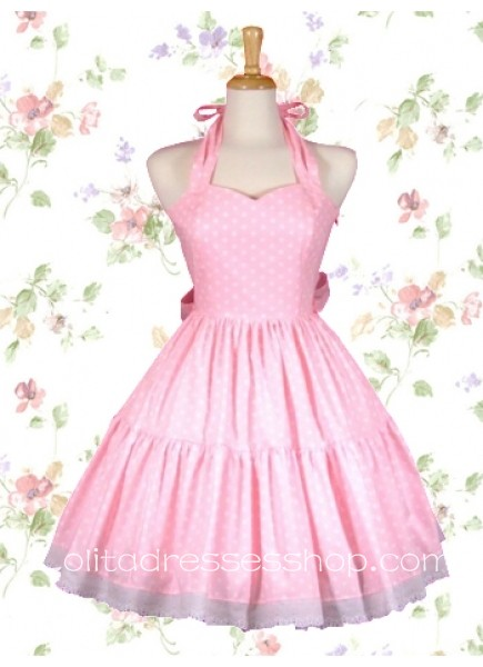cheap pink halter sweetheart neckline sleeveless sweet