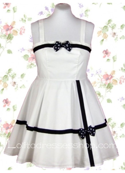 Short White Square Sleeveless Empire Sweet Lolita Dress With Bow Pleated Style