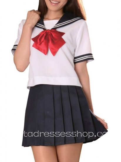 Black And White Cotton Turndown Collar Short Sleeves sailor Costume