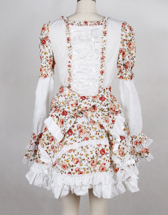 Short White Chiffon Square-collar Floral Print Long Sleeves Gothic Lolita Dress(Black available)