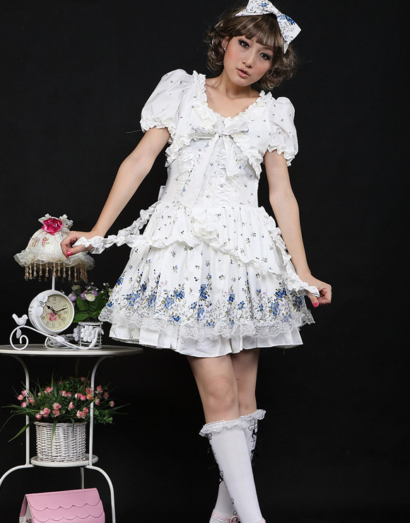 Short White Cotton Scoop Neckline Short Sleeve Floral Sweet Lolita Dress (Yellow available)