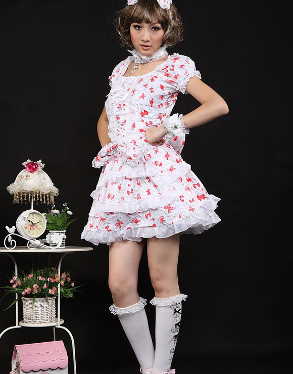 Short Red Cotton Square-collar Short Sleeve Bow Sweet Lolita Dress