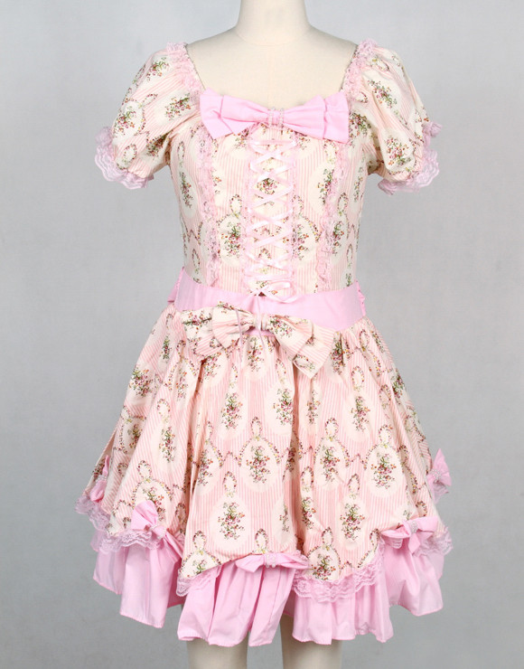 Short Pink Cotton Square-collar Short Sleeve Floral Sweet Lolita Dress