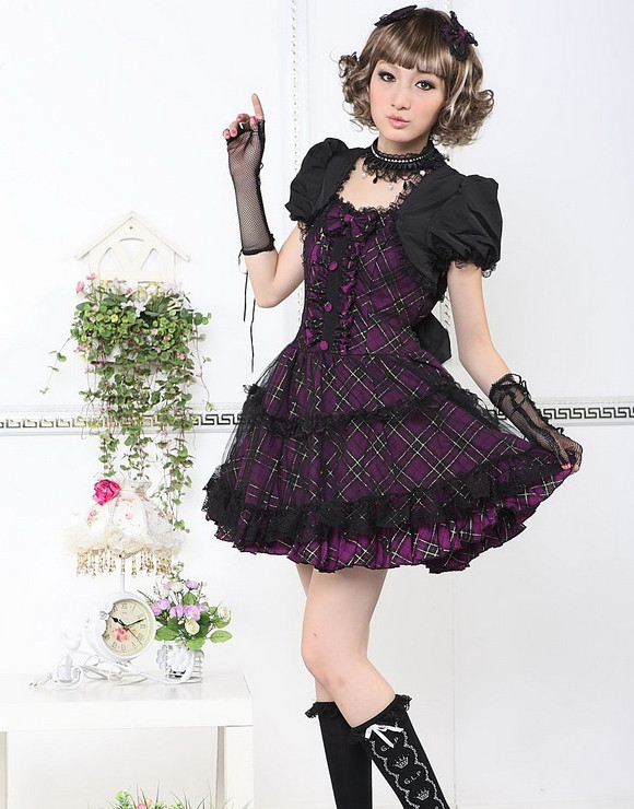 Red Cotton Square-collar Short Sleeve Bow Gothic Lolita Dress(Purple available)