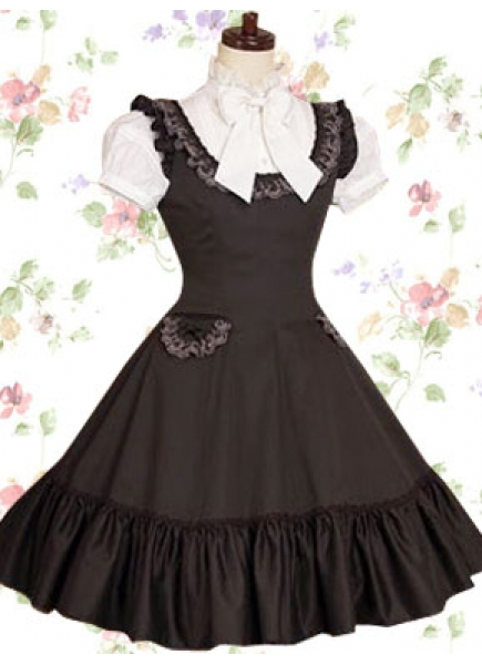 Brown and White Classic Cotton Stand Callor Short Sleeves Knee-length Bow Lolita Dress With Pocket