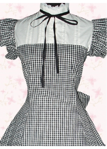 Black And White Cotton Checked Short Sleeves Ruffles Gothic Lolita Dress