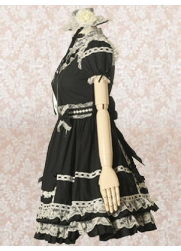 Knee-length Black Cotton Turndown Collar Short Sleeves Empire Lace Gothic Lolita Dress