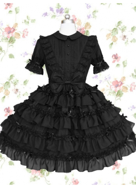 Graceful Black Cotton Turndown Collar Short Sleeves Knee-length Gothic Lolita Dress