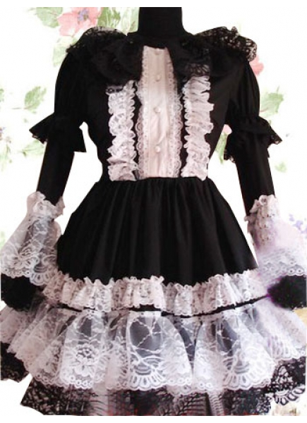 Scoop Empire Black And White Trumpet Sleeve Lace Gothic Lolita Dress