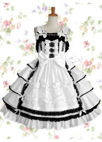 Black And White Cotton Scalloped-Edge Sleeveless Knee-length Gothic Lolita Dress With Tiered