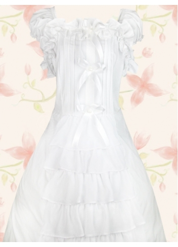 White Satin Round Neck Short Sleeve Ankle-length Ruffles Sweet Lolita Dress
