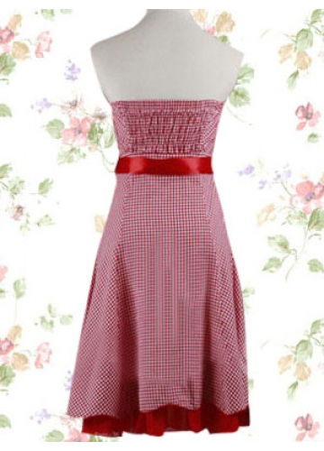 Stylish Red And White Cotton Strapless Sleeveless Empire Sash Knee-length Plaid Sweet Lolita Dress