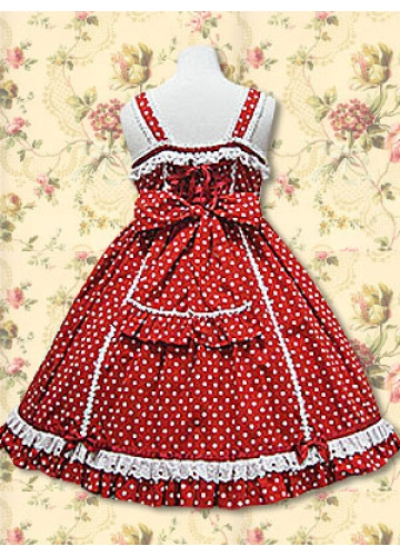Red Cotton Straps Sleeveless Knee-length Lace Bow Applique Sweet Lolita Dress
