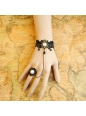 Retro Black Lace attached Ring Pearl Lolita Bracelet