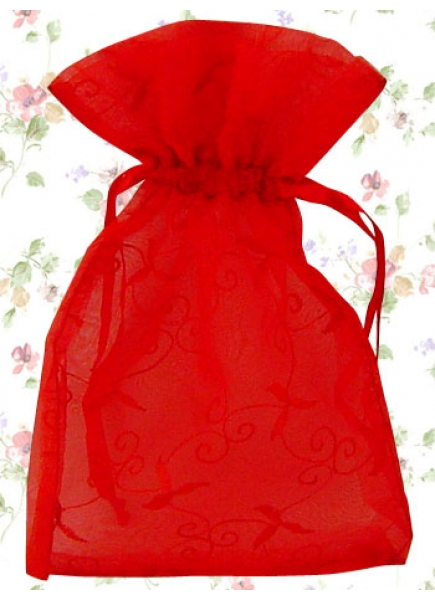 Hot Red Sheer Organza Lolita Pouch