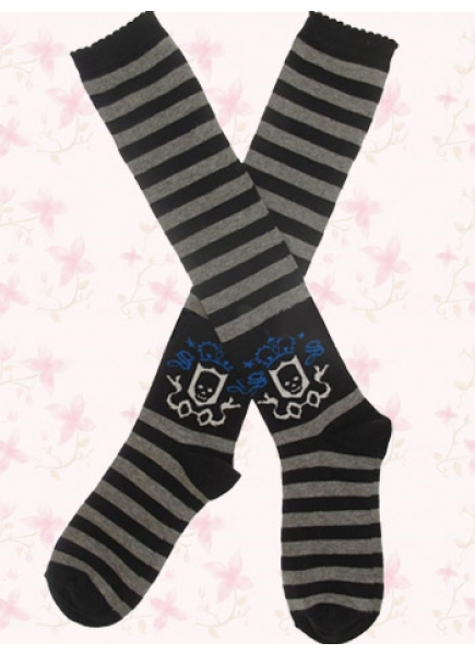 Lovely Black And Gray Stripes Lolita Knee Stockings