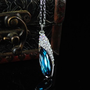 Gorgeous Blue Swarovski Alloy Chain Rhinestones Women\'s Necklace
