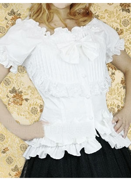 Cotton White Square-collar Short Sleeves Sweet Lolita Blouse With Bow And Flouncing