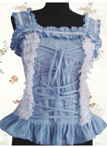 Sky Blue Cotton Sleeveless Ruffles Sweet Lolita Blouse