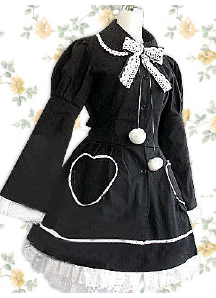 Cute Black Wool Turndown Collar Long Sleeves Classic Lolita Coat/Jacket With Bow