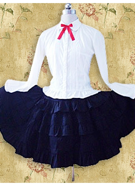 Black And White Cotton Turndown Collar Long Sleeve Classic Lolita Skirt Outfit