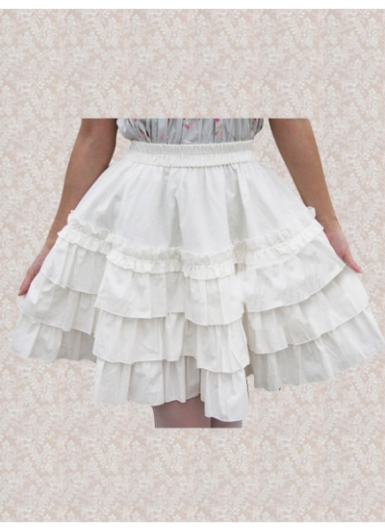 Cheap Knee-length White Cotton Classic Lolita Skirt With Lace Sale ...