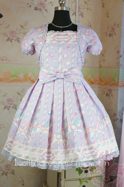 Lavender Cotton Short Sleeves Sugary Carnival Lolita Dress