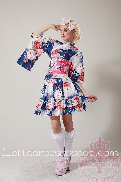 Cheap Blue Pink Floral Half Sleeve Wa Lolita Outfit Sale